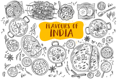 Hand drawn Indian food, vector illustration. Vettoriali