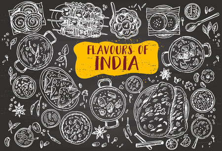 Hand drawn Indian food on a blackboard, vector illustration. Illustration