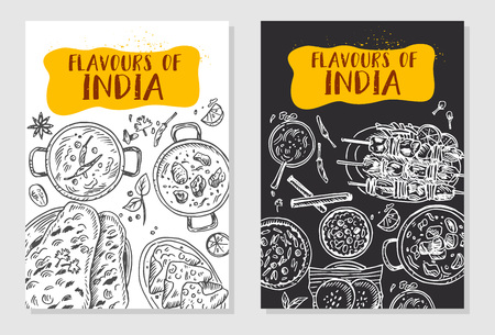 Indian food flyer design. Linear graphic. Vector illustration. Engraved style.