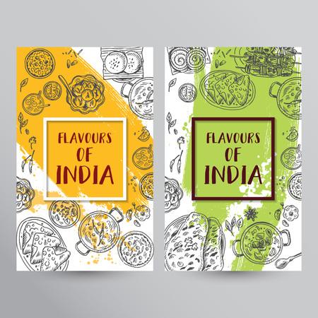 Indisches Essen Flyer Design . Lineare Grafik . Vektor-Illustration . Gravierte Stil Standard-Bild - 93803836