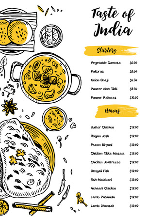 Indian food menu design. Linear graphic. Vector illustration. Engraved style.
