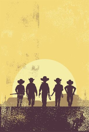 Silhouette of children cowboys walking towards the sun.