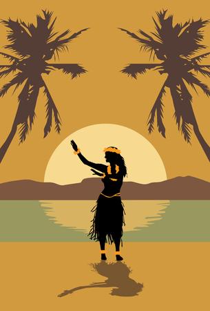 ハワイアンフラガールのイラスト