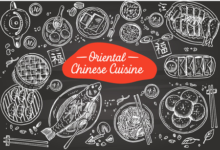 Hand drawn Chinese Food on a chalkboard, Vector Illustration