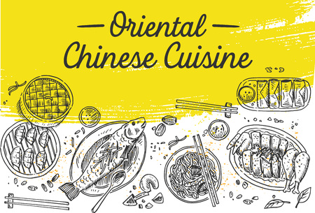 Chinese food flyer design. Linear graphic. Vector illustration. Engraved style.