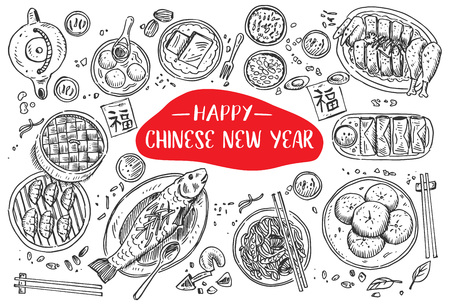 Hand drawn Chinese Food on New Year, Vector Illustration