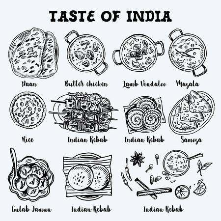 Indyjski rysunek żywności. Grafika liniowa. Ilustracji wektorowych. Grawerowany styl. Ilustracje wektorowe