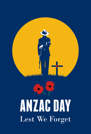 Silhouette of soldier paying respect at the grave, vector