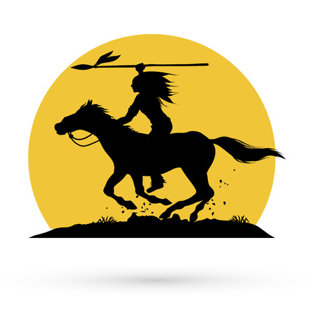 Silhouette of Native American Indian riding horseback with a spear. Vectores