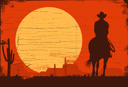 Silhouette of lonesome cowboy riding horse at sunset, Vector Illustration Archivio Fotografico - 96057375