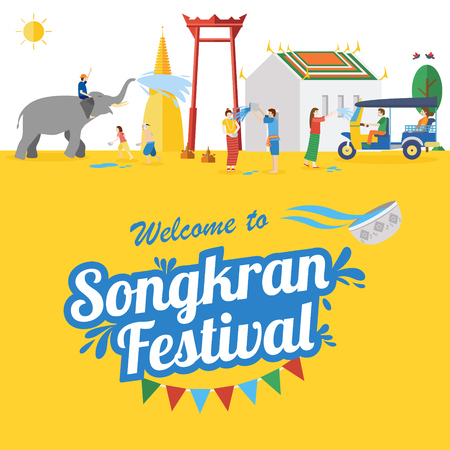 Songkran Festival Banner, Thai New Years Day Vector illustration with elephant, sun, people.
