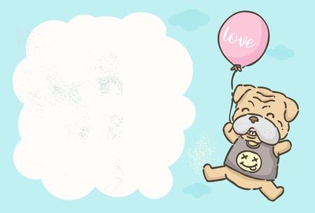 Invitation card, Cute cartoon Bulldog flying with balloon, vector