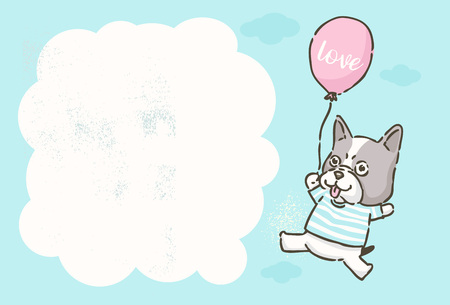Invitation card,  Cute cartoon French Bulldog flying with balloon, vector