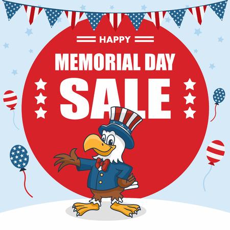 Memorial Day Banner, Cartoon Eagle wearing Uncle Sam Hat, Vector Illustration