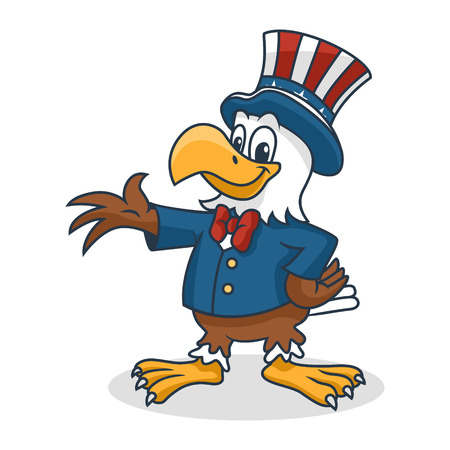 Cartoon Eagle wearing Uncle Sam Hat, Vector Illustration