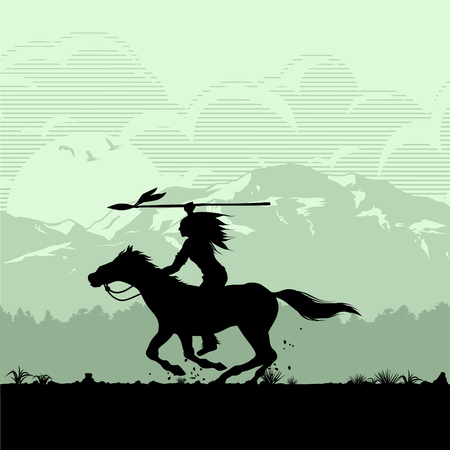 Silhouette of Native American Indian riding horseback, Vector Иллюстрация