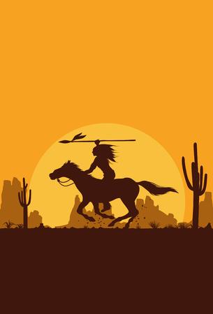 Silhouette of Native American Indian riding horseback, Vector Vettoriali