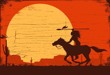 Silhouet van Inheemse Indiaan die horseback met spear op een houten teken berijden, vector Vector Illustratie