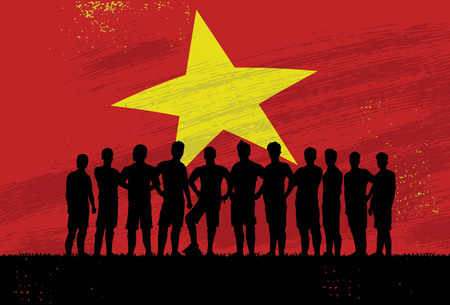 Silhouette of soccer players standing in front of flag of Vietnam, Vector Illustration