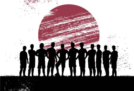 Silhouette of soccer players standing in front of flag of Japan