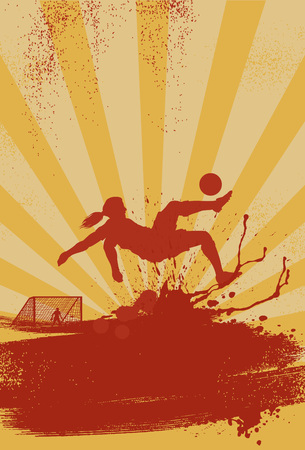 Silhouette of soccer woman player kicking a ball, Vector Illustration