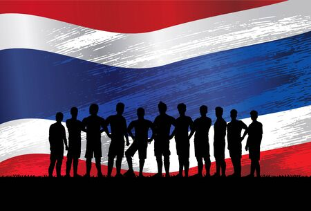Silhouette of soccer players standing in front of flag of Thailand, Vector Illustration Stock Illustratie