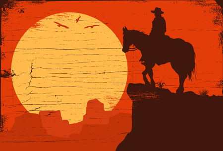 Silhouette of lonesome cowboy riding horse at sunset, Vector Illustration Фото со стока - 97484165