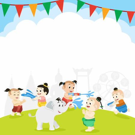 Songkran, Thai New Year Festival, Illustration of Thai Children Playing with Water, Vector