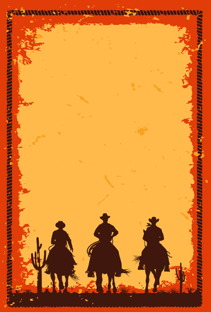 Silhouette of three cowboys riding horses banner, Vector