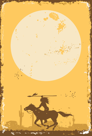 Silhouette of Native American Indian riding horseback with a spear on a tin sign, vector