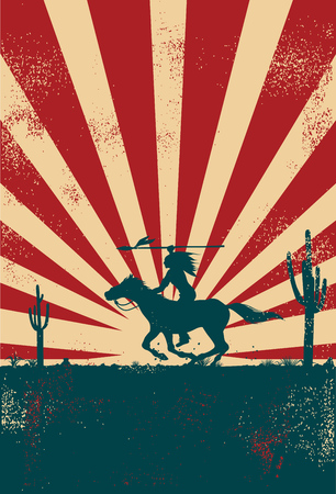 Silhouette of Native American Indian riding horseback with a spear banner, vector Illusztráció