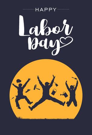 Siluetta dei lavoratori felici che saltano nell'aria con la festa del lavoro felice del testo, vettore