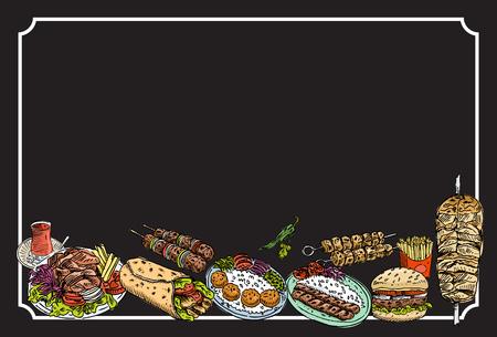 Hand drawn Turkish food on a chalkboard, Vector Illustration Vectores