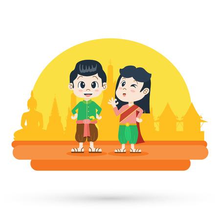 Cute cartoon man and woman in Thai traditional costume, Vector Illustration Иллюстрация