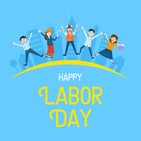 Labor Day Banner, People with different Occupation, Vector Illustration Çizim