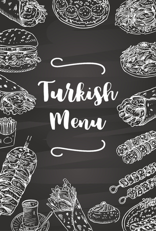 Hand drawn Turkish food on a chalkboard, Vector Illustration 일러스트