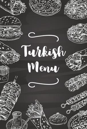 Hand drawn Turkish food on a chalkboard, Vector Illustration Illustration