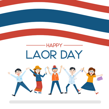 Labor Day Banner with People in different occupation vector Illustration Ilustrace