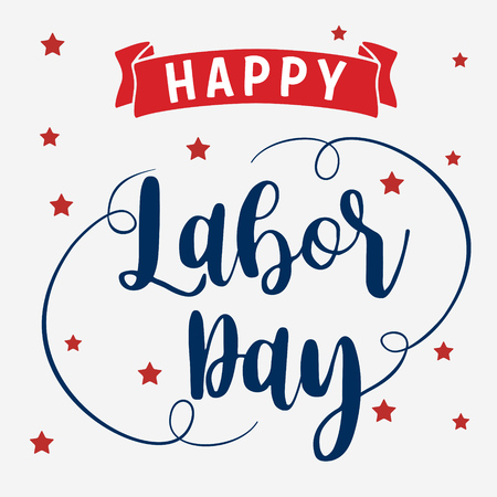 Happy Labor Day hand lettering, vector