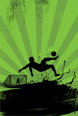 Silhouette a soccer kicking a ball vector illustration design.
