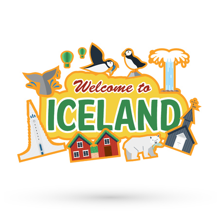 Flat design, Iceland landmarks and icons, Vector Illustration Ilustrace