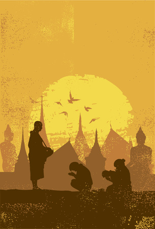 Silhouette of People praying respect to monk, Vector