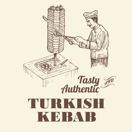 Hand drawn a Turkish chef  slicing doner meat from rotating spit