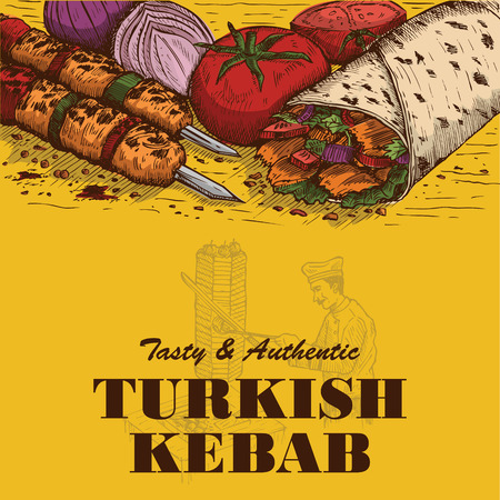 Hand drawn doner kebab, Vector Illustration  イラスト・ベクター素材