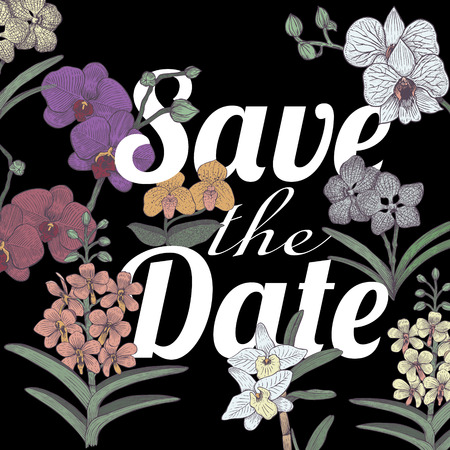Save the Date with hand drawn orchids, Vector Illustration