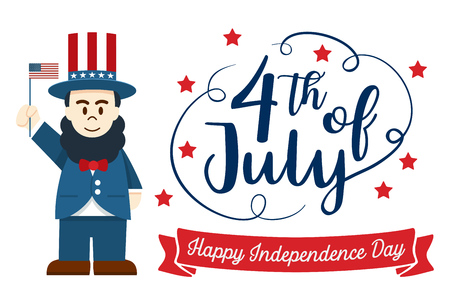 Flat design, Cute Cartoon Abraham Lincoln, Happy 4th of July Independence Day Banner