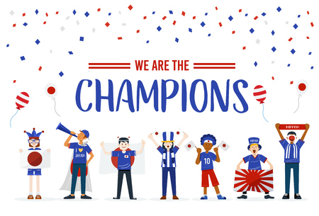 Cheerful Japanese soccer fans, Vector Illustration 写真素材 - 104217738