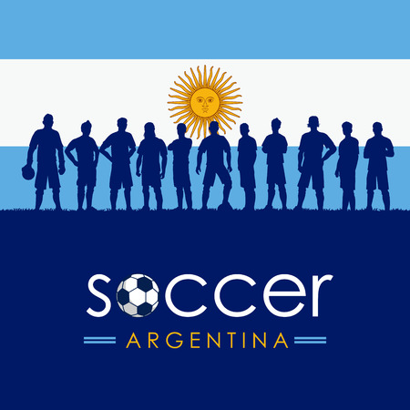 Silhouette of soccer team with flag of Argentina as a background, Vector Illustration Ilustrace