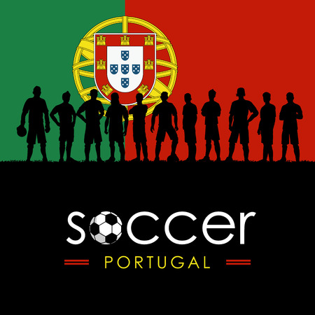 Silhouette of soccer team with flag of Portugal as a background, Vector Illustration Ilustrace