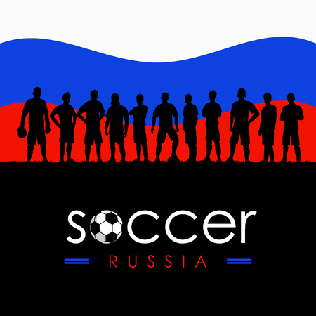 Silhouette of soccer team with flag of Russia as a background, Vector Illustration